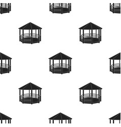 gazebo icon in black style isolated on white vector image vector image