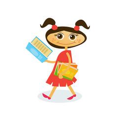 Little girl reading on walk hold stack of books vector