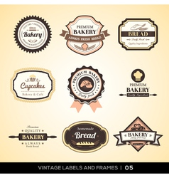 Vintage bakery logo labels and frames vector image