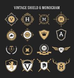 vintage monogram and shield elements vector image