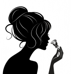 beauty girl silhouette with rose vector image
