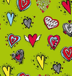 Set of funny heart with wings sketch doodle vector