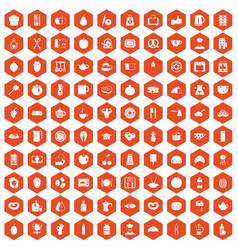 100 breakfast icons hexagon orange vector