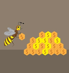 A bee builds a honeycomb of money vector