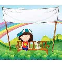 A girl and her dog near an empty banner vector image