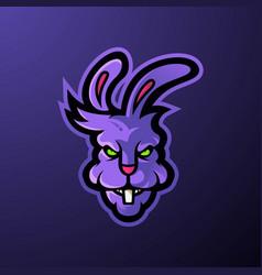 Angry head mascot logo rabbit vector