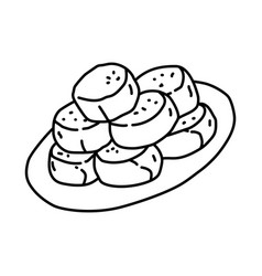 Bakpia pathok icon doodle hand drawn or outline vector