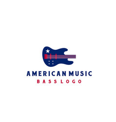 bass with american flag for music instrument logo vector image