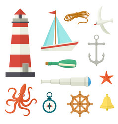 Big set of flat cartoon style nautical elements vector