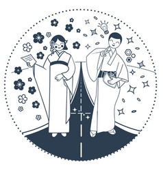 black and white important moment in life japan vector image