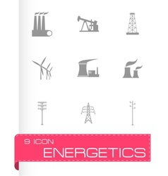 black energeticsl icons set vector image