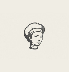 Black silhouette head woman in traditional vector