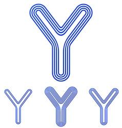 Blue line y logo design set vector