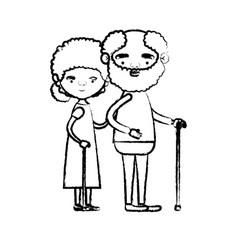 blurred silhouette of full body elderly couple in vector image