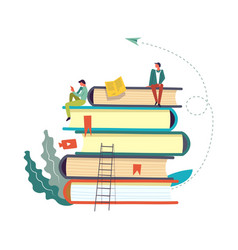 Books set with people reading and taking info vector
