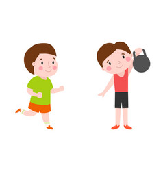 Boy with dumbbells fitness attractive kid healthy vector