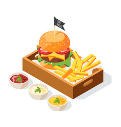 Burger serving isometric composition vector