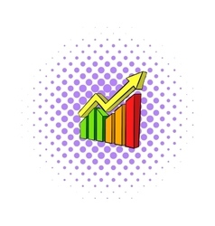 Business growing chart icon comics style vector image