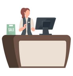 Cashier standing desk checkout counter at shop vector