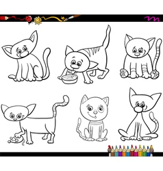 cats set cartoon coloring page vector image