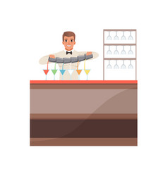 Cheerful bartender pouring alcoholic cocktails at vector