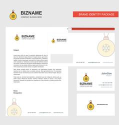 Christmas balls business letterhead envelope and vector