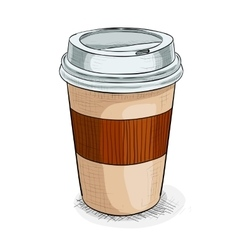 Coffe to go color picture vector