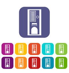 coffee vending machine icons set vector image