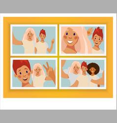 Collage photo girlfriends selfie vector
