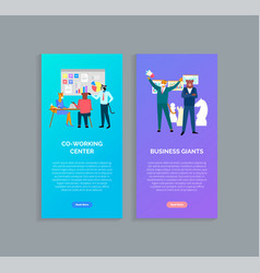 Coworking center and business giants websites vector