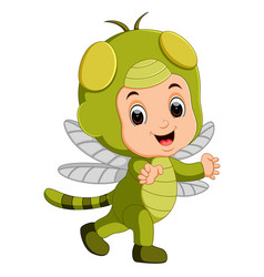 Cute boy cartoon wearing dragonfly costume vector