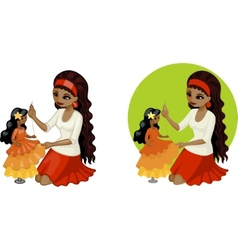 Cute young African American woman hobbyist sewing vector