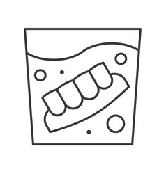 Denture in water glass simple outline icon dental vector