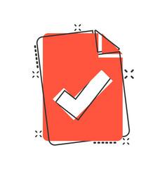 Document checklist icon in comic style report vector