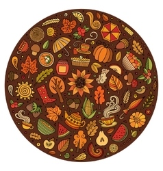 Doodle cartoon set of Autumn objects vector