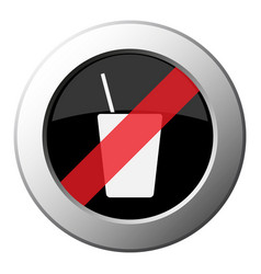 Drink with straw icon - ban round metal button vector