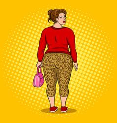 fat girl in leopard leggings pop art vector image