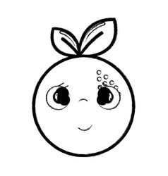 Figure kawaii nice shy orange fruit vector