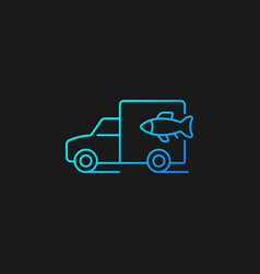 Fish transporting gradient icon for dark theme vector