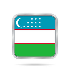 flag of uzbekistan metallic gray square button vector image