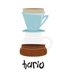 Flat hario alternative methods brewing coffee vector