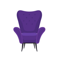 Flat icon of cozy purple armchair front vector