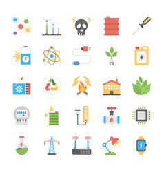 Flat icons of energy and power vector