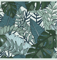Floral seamless pattern with tropical plants vector