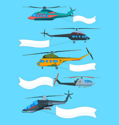 flying helicopters with banners advertizing vector image