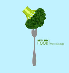Fork with a brocoli healthy food concept vector