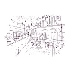 Freehand sketch of european outdoor cafe or vector