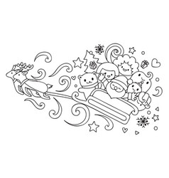 friends on christmas sleigh vector image