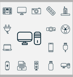 Gadget icons set collection of telephone vector