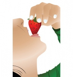 Girl eating strawberry vector
